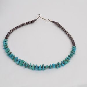 vintage turquoise silver choker necklace boho